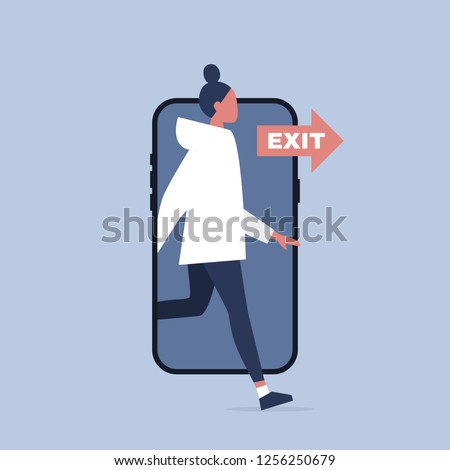 Digital detox. Young female character stepping out of the mobile phone screen. Modern lifestyle. Millennial user. Flat editable vector illustration, clip art Foto stock ©