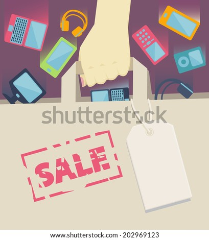 Digital devices as laptop, desktop computer, mobile phones, headset and portable music players falling into a paper shopping bag with blank label, held by a customer