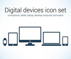 Digital devices icon set