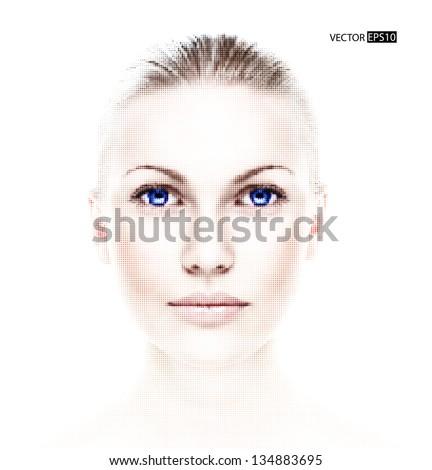 digital dotted beautiful woman