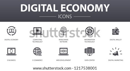 Digital economy simple concept icons set. Contains such icons as computing technology, e-business, e-commerce, data center and more, can be used for web, logo, UI/UX