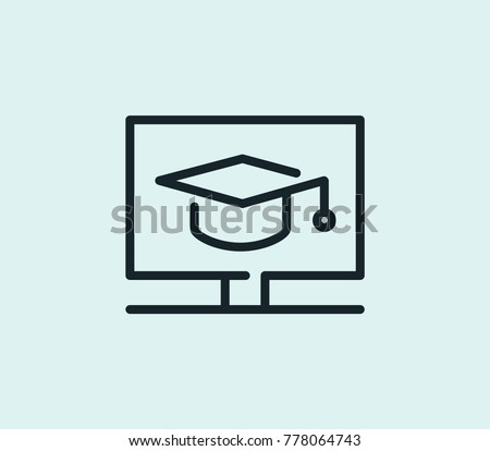 Digital education icon line isolated on clean background. Online graduate concept drawing icon line in modern style. Vector illustration for your web site mobile logo app UI design.