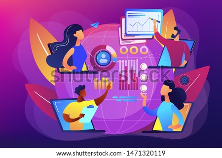 Digital education, internet conference. Online tech talks, technical topics presentations, tech webinars, live technology demonstration concept. Bright vibrant violet vector isolated illustration