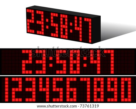 Digital Electronic clock alarm red numbers black background