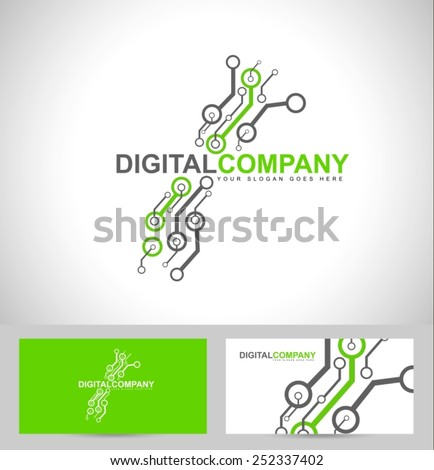 Digital electronics logo design. Creative electronic circuits logo vector
