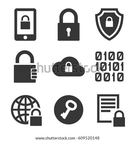 Digital Encrypt Technology Security Icons Set. Vector