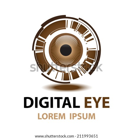 digital eye symbol icon vector