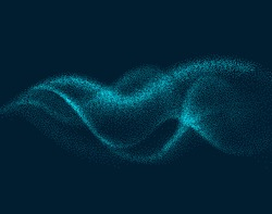 Digital flow wave with particles in motion. Abstract smoke effect background. Smoke motion with particle, wave effect flow energy illustration vector