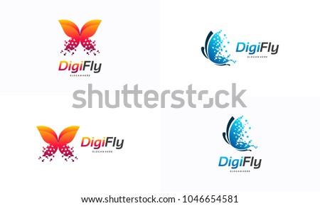 digital fly logo template