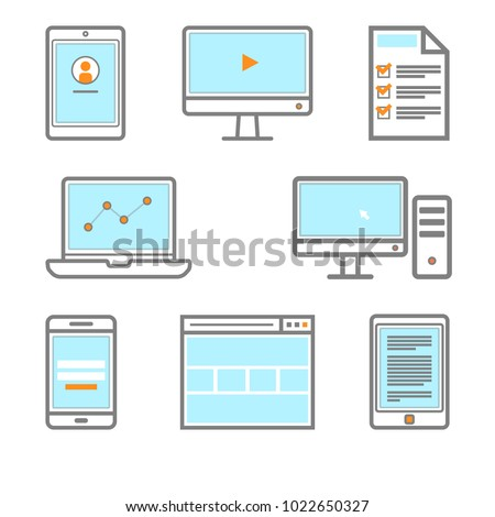 Digital gadget icon Smartphone, monitor, PC, browser, tablet bookreader ebook icon Vector eps 10