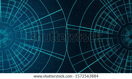 Digital Gears wheel and Cock on Technology Background, vector