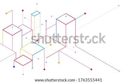 Digital geometric tech elements abstract vector isometric background