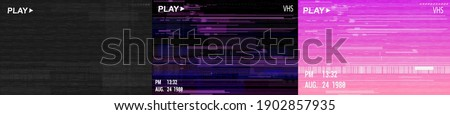 Digital glitch background collection in retrofuturism style. Glitched VHS video screen. Distorted trendy texture set. Vector illustrations with noise, glitch, vhs, no signal TV. Vector illustrations stock photo
