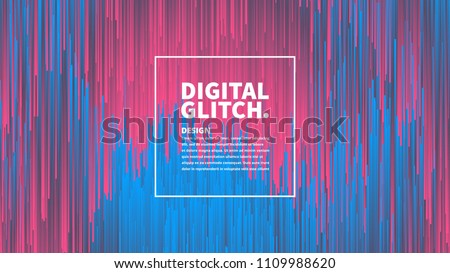 Stock Photo Digital Glitch Effect Vector Abstract Background. Dynamic Vivid Color Striped Conceptual Illustration