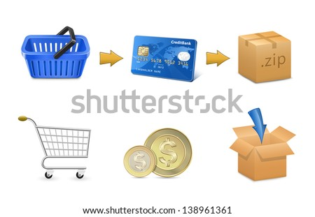 Digital goods payment concept. Shopping cart, credit card and box. Vector illustration