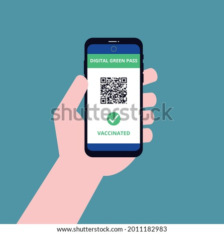 Digital green certificate screen with QR code, vector flat design Stock foto ©