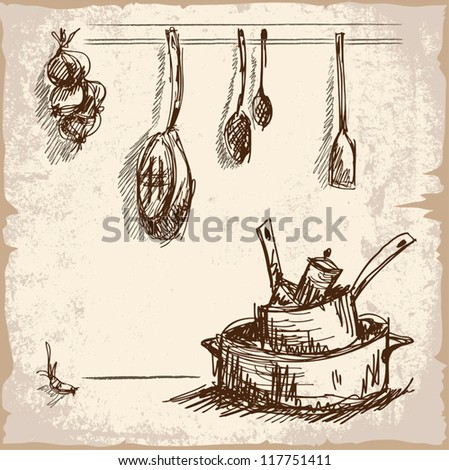 Digital hand drawn sketch of various cooking tools. Array of pans