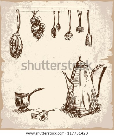 Sketch Of Kitchen Utensils : Digital Hand Drawn Sketch Of Various Cooking Tools. Pot And Saucer ...