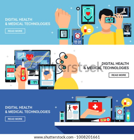 Digital health and innovative medical technology electronic devices 3 flat horizontal banners webpage design isolated vector illustration