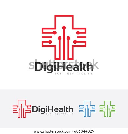 Digital Health, Vector logo template