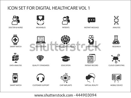Digital healthcare and medicine vector icon set