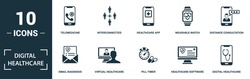 Digital Healthcare icon set. Collection of simple elements such as the telemedicine, interconnected, healthcare app, wearable watch. Digital Healthcare theme signs.