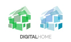 Digital home. Vector concept logo illustration of home automation and AI home accessories.