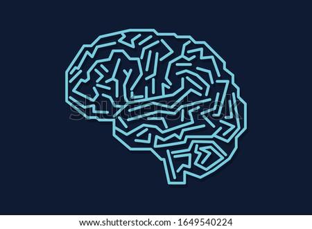 Digital human brain with computer circuit board.