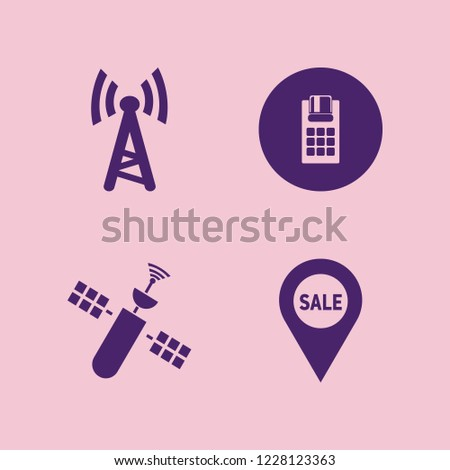 digital icon. digital vector icons set pos terminal, sale location, wi fi and satellite