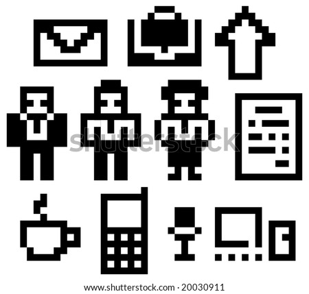Digital-icons. The set of pixels (digital drawings) business&communication icons. Vector illustration.