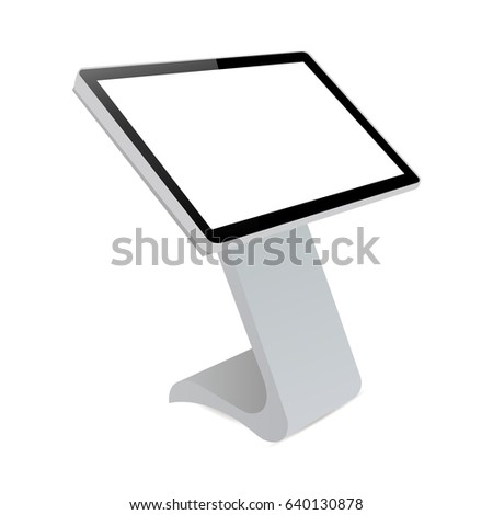 Digital informational kiosk. Interactive digital signage with blank screen. Mockup to showcasing info or advertising projects. Vector illustration