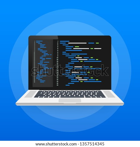 Digital java code text. Computer software coding vector concept. Programming coding script java, digital program code on screen illustration. Vector stock illustration.