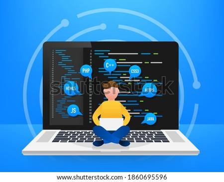 Digital java code text. Computer software coding vector concept. Programming coding script java, digital program code on screen illustration. Vector stock illustration. Foto stock ©