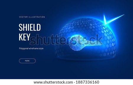 Digital key under a protective dome in a futuristic polygonal style. Concept for insurance of property or house under guard. Vector illustration