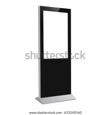 Digital kiosk LED display ViewSonic, industry-standard PC, electronic poster with blank screen. Mockup to showcasing information or advertising projects. Vector illustration