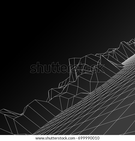 Digital landscape. Abstract vector wireframe background. 3d technology illustration for presentations and polygraphy products #699990010