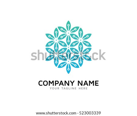 Digital Leaf Logo Design Template