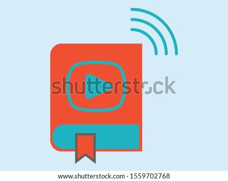 Digital learning, audio book icon in flat design (sesli kitap) Stok fotoğraf ©