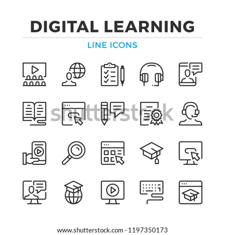 Digital learning line icons set. Modern outline elements, graphic design concepts, simple symbols collection. Vector line icons