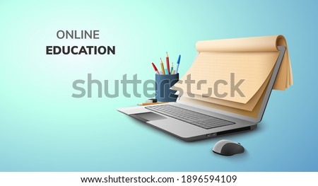Digital Lecture Online Education blank space paper and graduate hat on laptop mobile phone website background. social distance concept