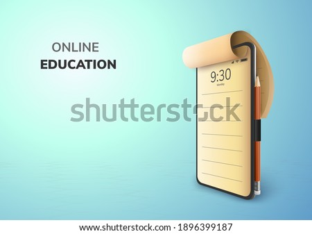 Digital Lecture Online Education internet and blank space on phone, mobile website background. social distance concept. decor by book pencil eraser Student desk table chair. 3D vector Illustration.