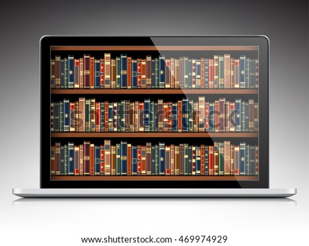 digital library - books inside computer