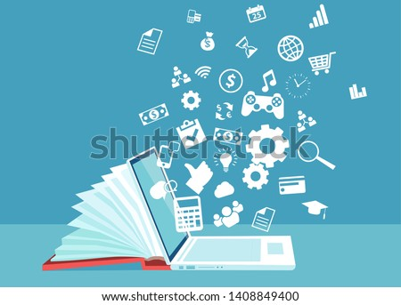 Digital library concept. Vector of a laptop as part of a book knowledge base