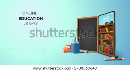 Digital Library Online Education internet and blank space on phone, mobile website background. social distance concept. decor by book lecture pencil eraser blackboard mobile. 3D vector Illustration