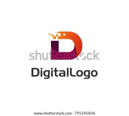 Digital logo icon. Letter D vector element