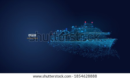 Digital low poly 3d cruise ship in dark blue. Travelling by sea, ocean voyage, business, cruise or holiday concept. Abstract vector wireframe of passenger liner with lines, dots, stars and particles