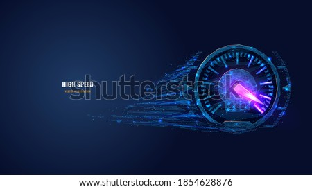Digital low poly 3d speedometer in dark blue. High speed, sport car speedometer or racing game concept. Abstract vector mesh image of speed indicator with connected dots, shapes and glowing particles