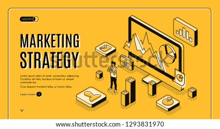 Digital marketing agency isometric vector web banner. Internet entrepreneur planning business strategy, analyzing statistics data online line art illustration. Financial analytic company landing page