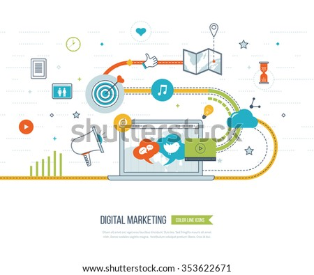 Digital marketing and social network concept for web and infographic. Teamwork and communication. Social media concept. Marketing strategy. Marketing plan