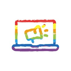 Digital marketing, business icon. Drawing sign with LGBT style, seven colors of rainbow (red, orange, yellow, green, blue, indigo, violet